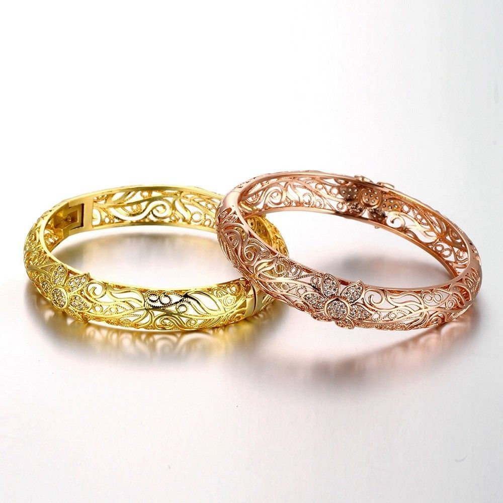 Women bangle hollow bracelet k gold filled fashion jewelry k