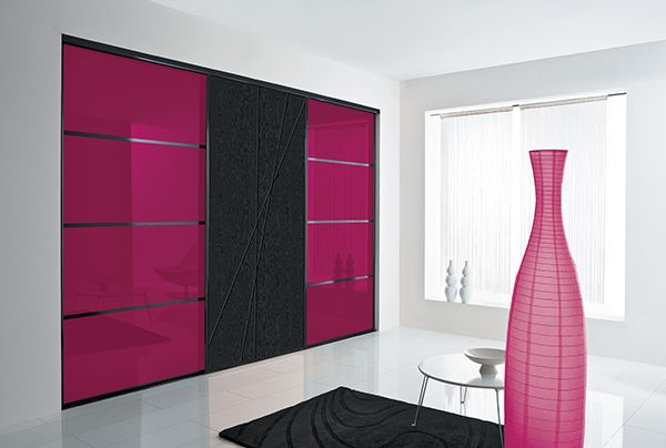 kazed portes de placard coulissantes kanza verre laqu framboise et graphic mikado noir glac. Black Bedroom Furniture Sets. Home Design Ideas