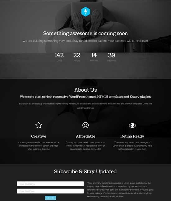 free template coming soon under construction responsive template