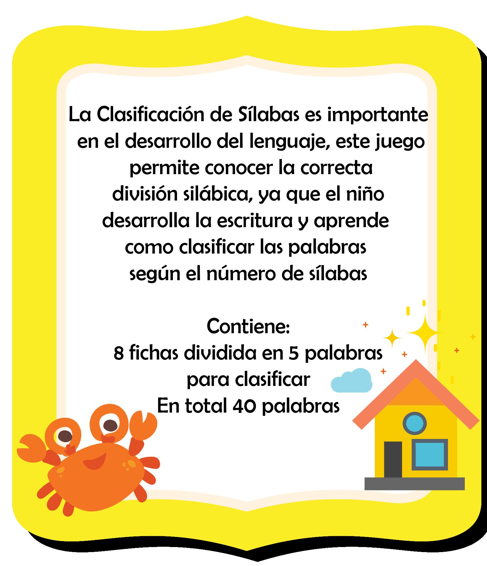 Clasificacion De Silabas Fichas Ludicas