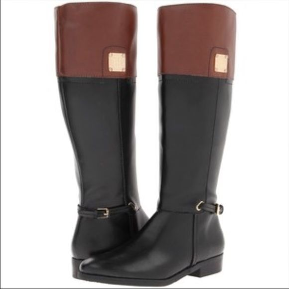 38cd419ddbba Tommy Hilfiger black brown ridding boots Gorgeous and very classy Tommy  Hilfiger black brown