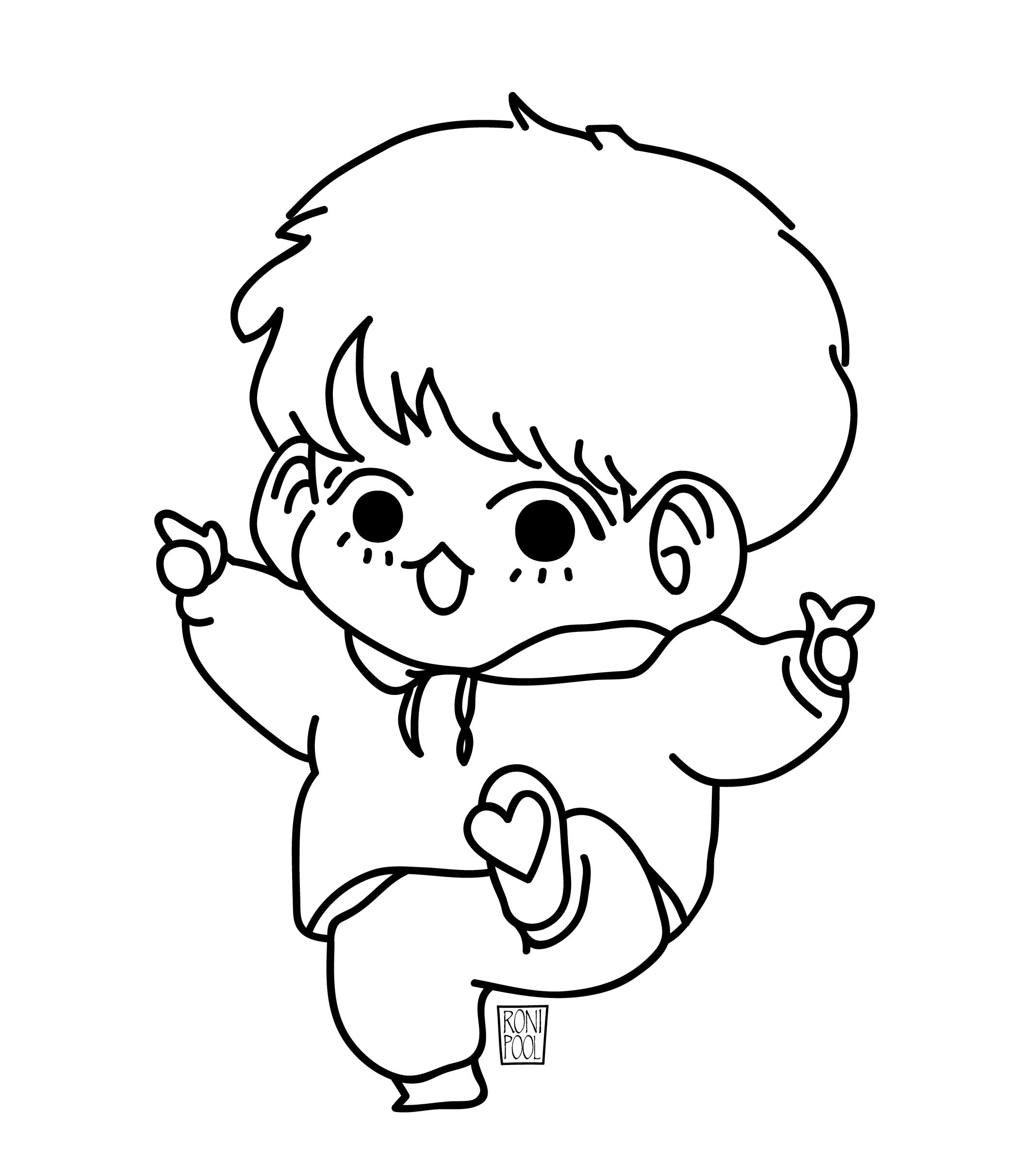 Bts Fanart Jungkook Chibi Speed Drawing Roni Pool In 2020 Drawings Line Art Drawings Bts Fanart