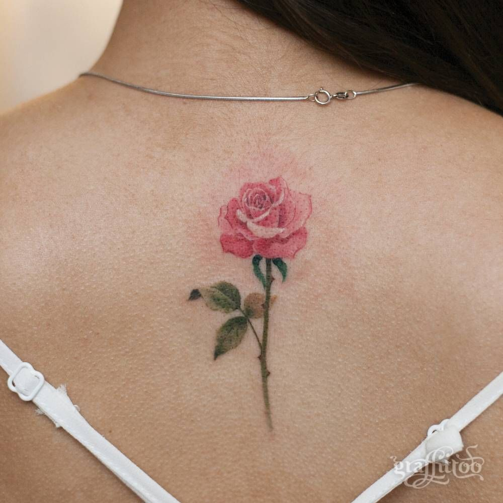 Pink Rose Tattoo On The Upper Back Pink Rose Tattoos