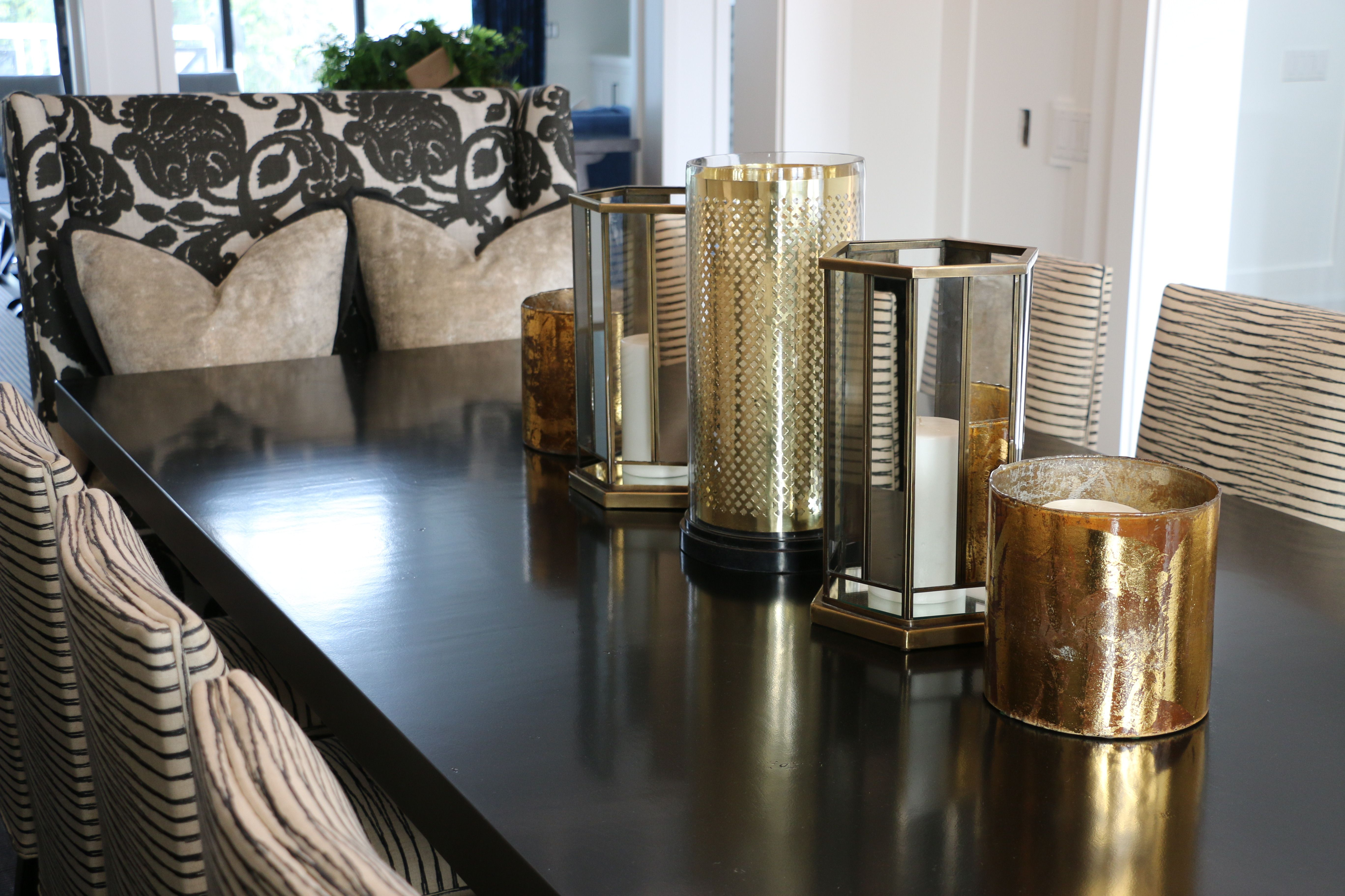 Black And White Dining Room Gold Accessories Centerpiece
