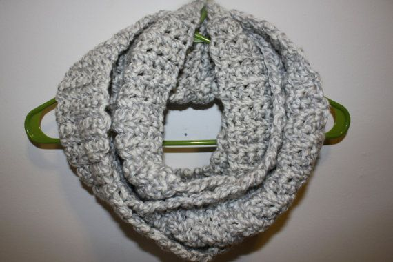 READY to SHIP GREY Twist, Infinity Scarf/Cowl, Hand Crochet, Single Strand, Soft and Chunky, Other Colors Avaialble