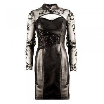 Impero London  Atelier Luxury Plongé Leather & Lace Bespoke Dress