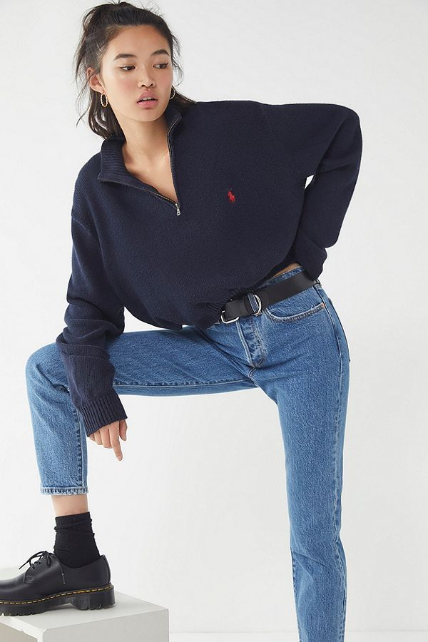 Slide View: 1: Urban Renewal Remade Zip-Up Polo Sweater