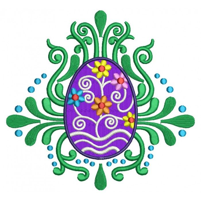 Ornate Easter Egg Filled Machine Embroidery Digitized Design Pattern