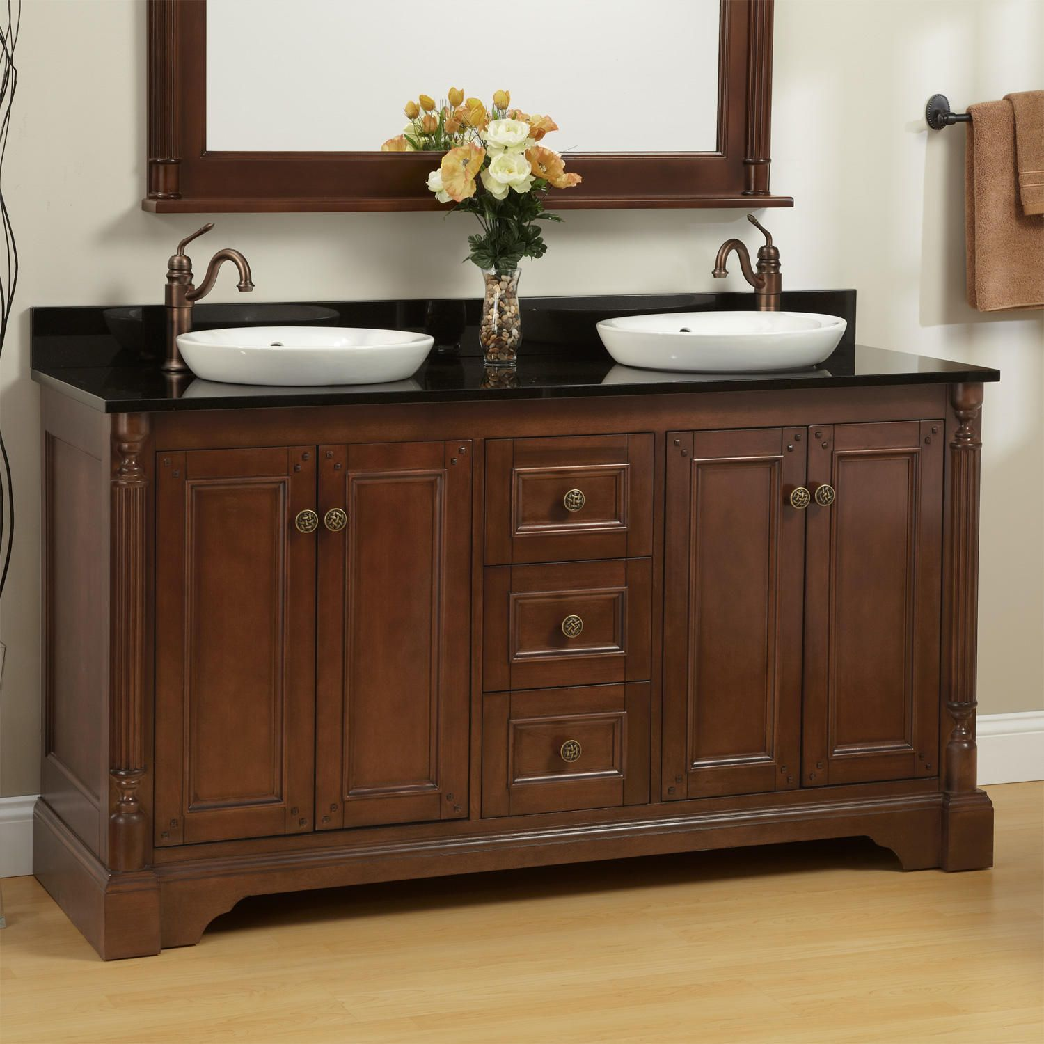 "60"" Trevett Double Vanity for Semi-Recessed Sinks - Walnut"