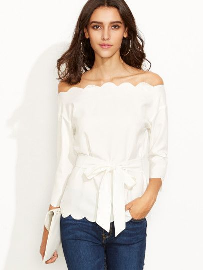 White Belted Scallop Trim Off The Shoulder Top -SheIn(Sheinside) Mobile Site