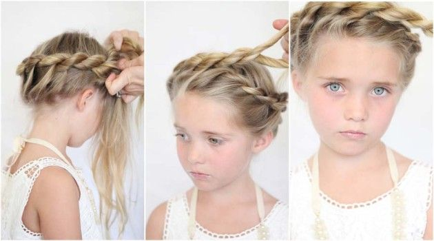 Twisted Crown Ballerina Bun Tutorial For Little Girls Little Girl Hairstyles Girl Hairstyles Flower Girl Hairstyles