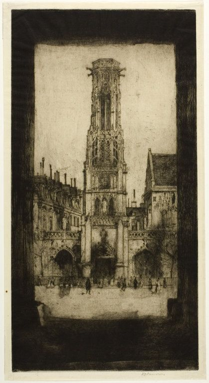 Saint Germain l'Auxerrois, 1904 by Sir David Young Cameron (Scottish 1865 - 1945) plate two from the Paris Set