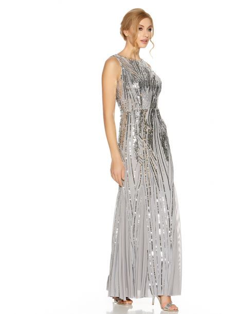 Grey Sequin High Neck Fishtail Maxi
