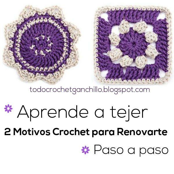 Aprende a tejer 2 motivos crochet para renovarte / Paso a paso ...