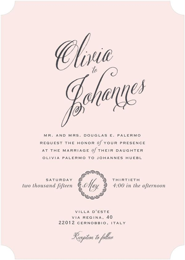 Wedding Invitation Inspired By Olivia Palermo Johannes Huebl