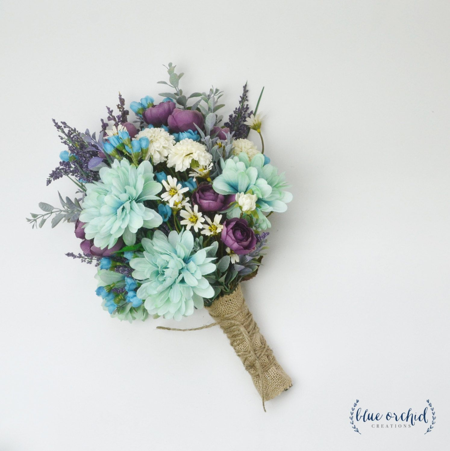 Teal And Purple Wedding Flowers: Wildflower Bouquet, Lavender Bouquet, Turquoise, Teal