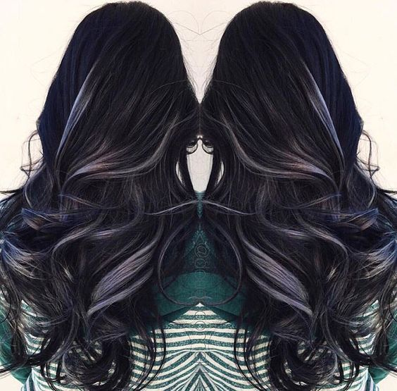 Black Hair With Grey Highlights Hair Styles Dyed Hair Mermaid Hair