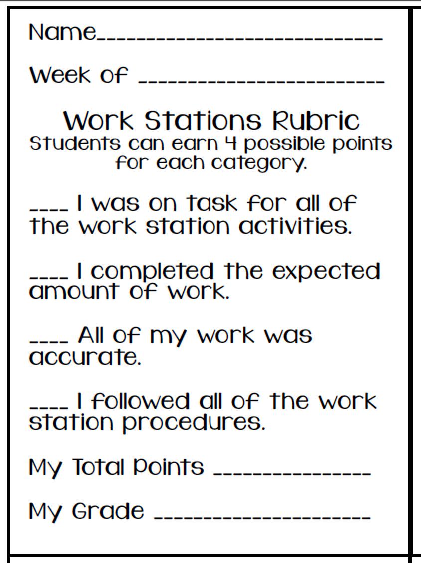 educationjourney: Math Work Stations, rubric | Math Workstations ...
