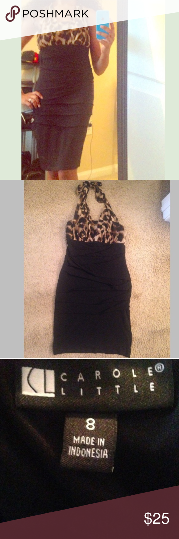 Leopard Halter Dress This cute black leopard halter dress is very stretchy, ties on the back of neck. Great condition! Perfect for date night  Dresses Midi