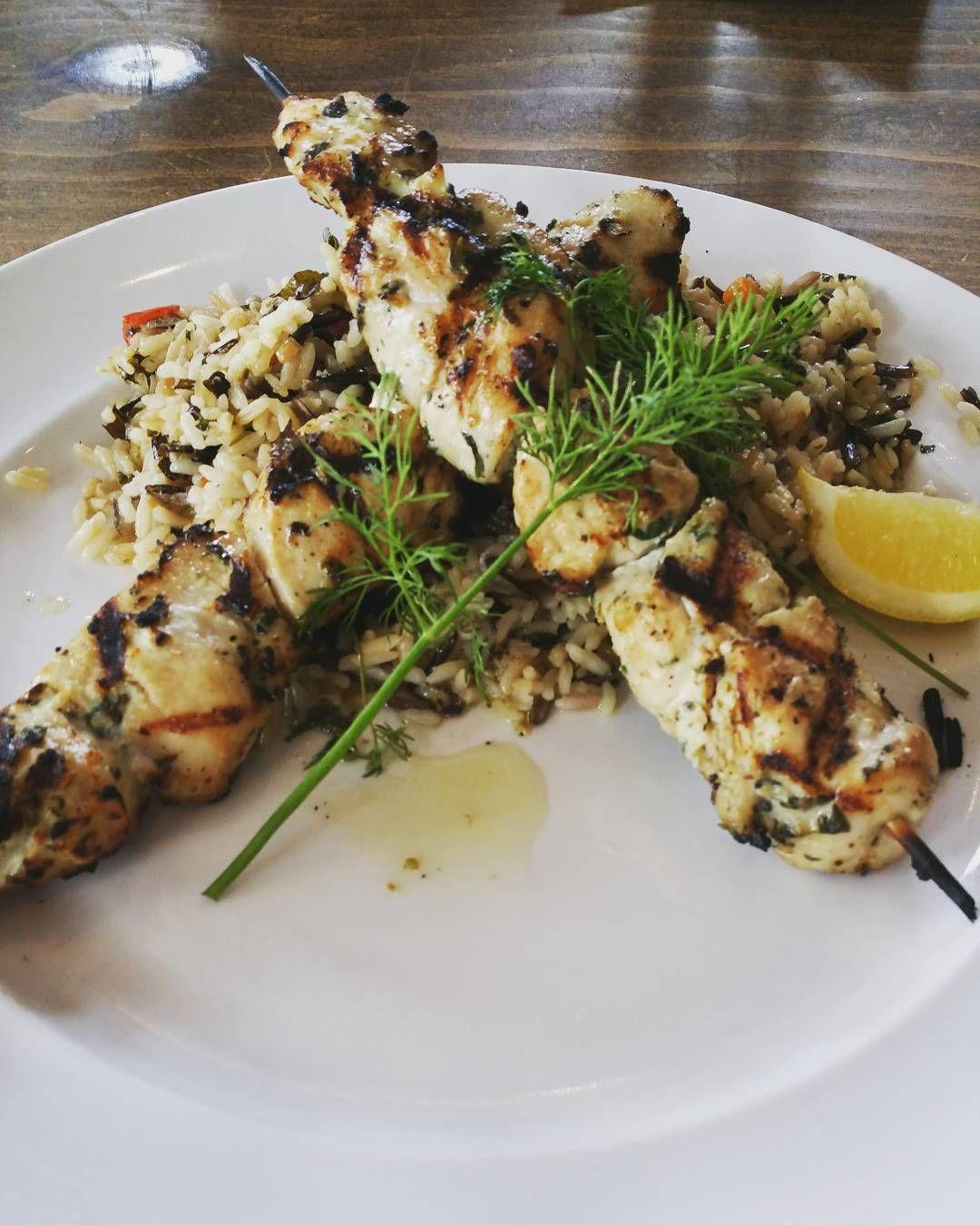 Downtown Campbell: Mmhmmm chicken souvlaki and rice pilaf! #greekfood by tena89