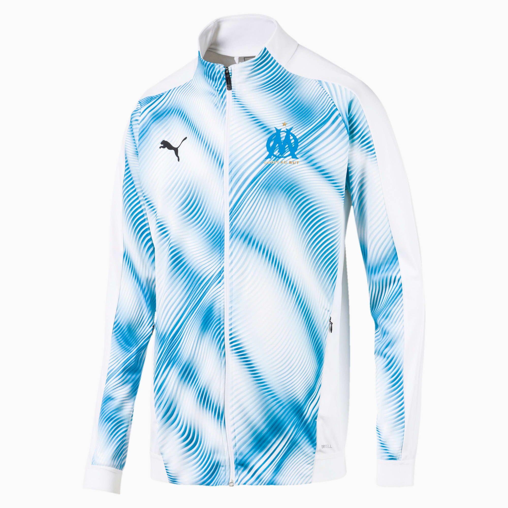 PUMA Olympique De Marseille Stadium Men's Jacket, White/Azure, size Small, Clothing