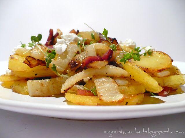 Kartoffel-Fenchel-Pfanne mit Ziegenfrischkäse und Kresse