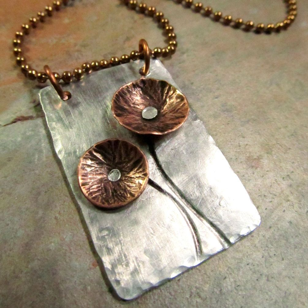 Vintage Wire Chain Jewelry Making Brass Chain Custom: Hand Stamped Mixed Metal Necklace With Copper Flowers And