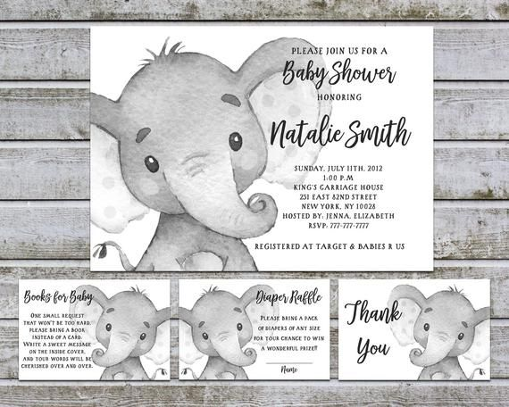 Baby Shower Invitation Gender Neutral Book Request & Diaper Raffle Ticket Insert, Elephant Baby Shower Invitation Printable (w10)