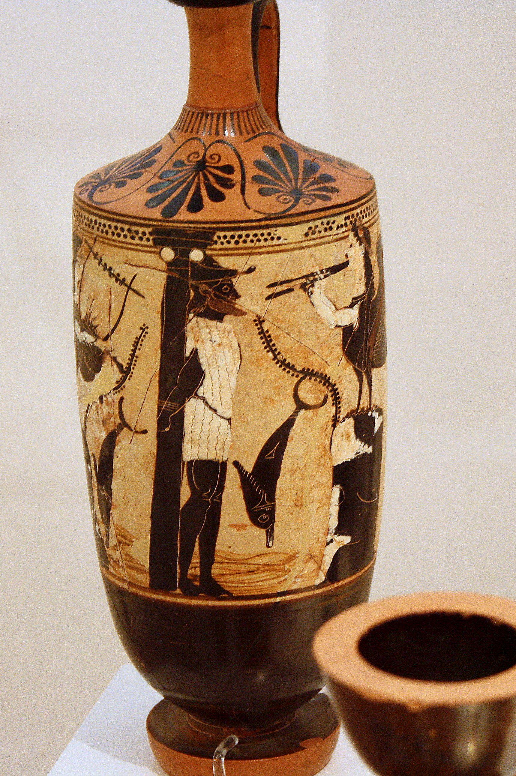 Attic Black Figure Lekythos 510 Bce Odysseus Tempted
