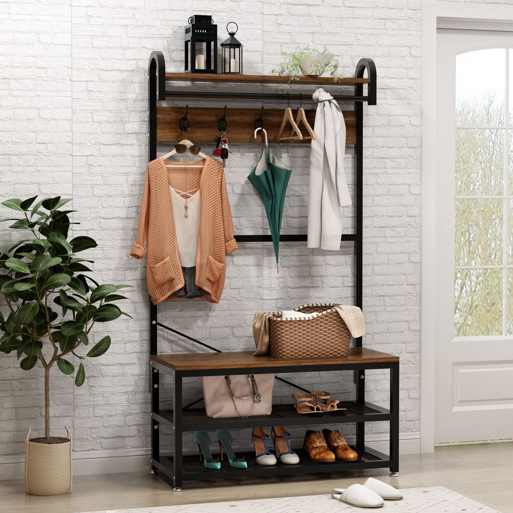 Tribesigns Vintage 4 In 1 Hall Tree With Storage Bench 3 Tier Industrial Entryway Bench With Coat Rack And Hanging Bar Coat Rack Stand With Shoe Rack Storage Hall Tree With Storage