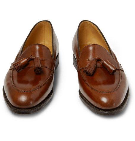 Dark brown tasseled loafers, men shoes