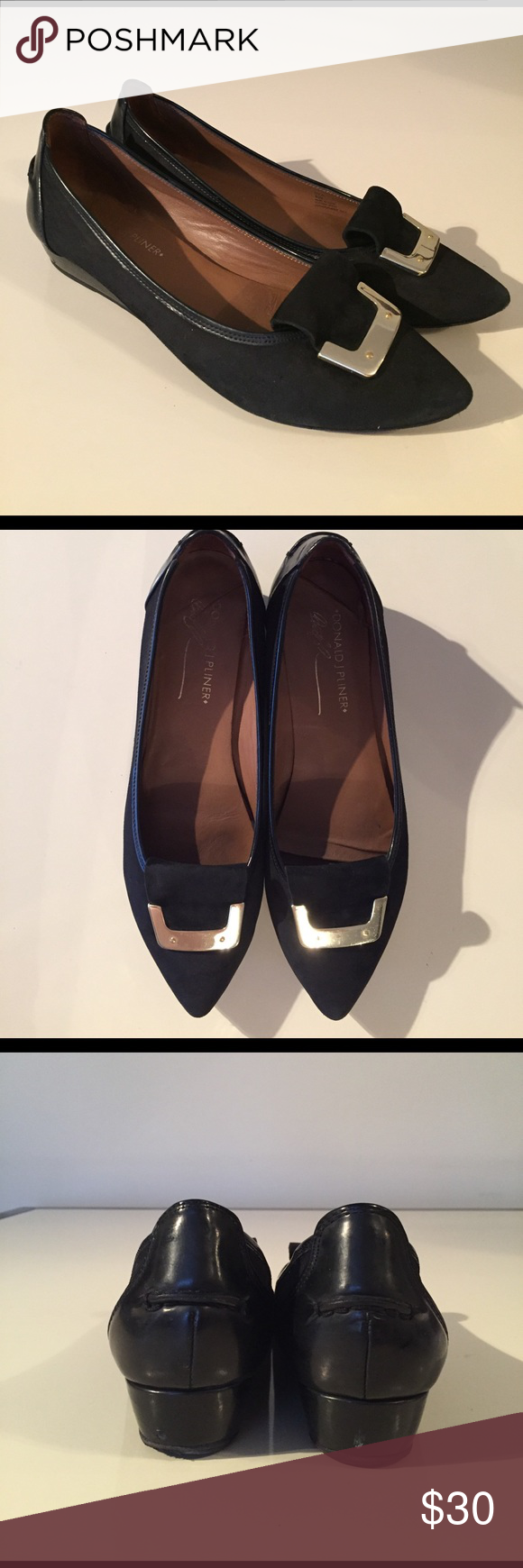 Donald J Pilner black suede point toe NILA flat Donald J Pilner black suede point toe NILA flat 8.5 upper in great condition, some signs of wear to bottoms Donald J. Pliner Shoes Flats & Loafers