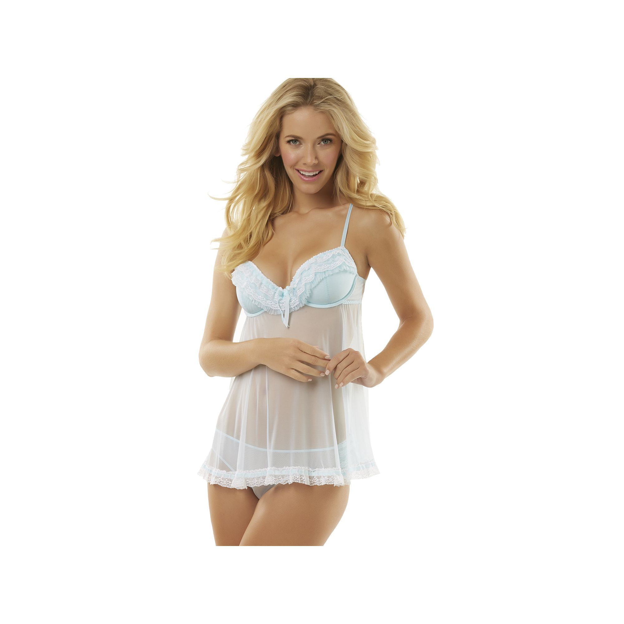 Jezebel Ruffles Galore Babydoll Chemise and Hipster Panty Lingerie ...