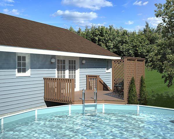 Plan 90004 Easy Pool Deck W Privacy Screen Pool Deck Plans