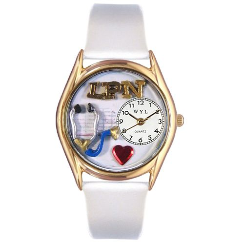 LPN White Leather And Goldtone Watch