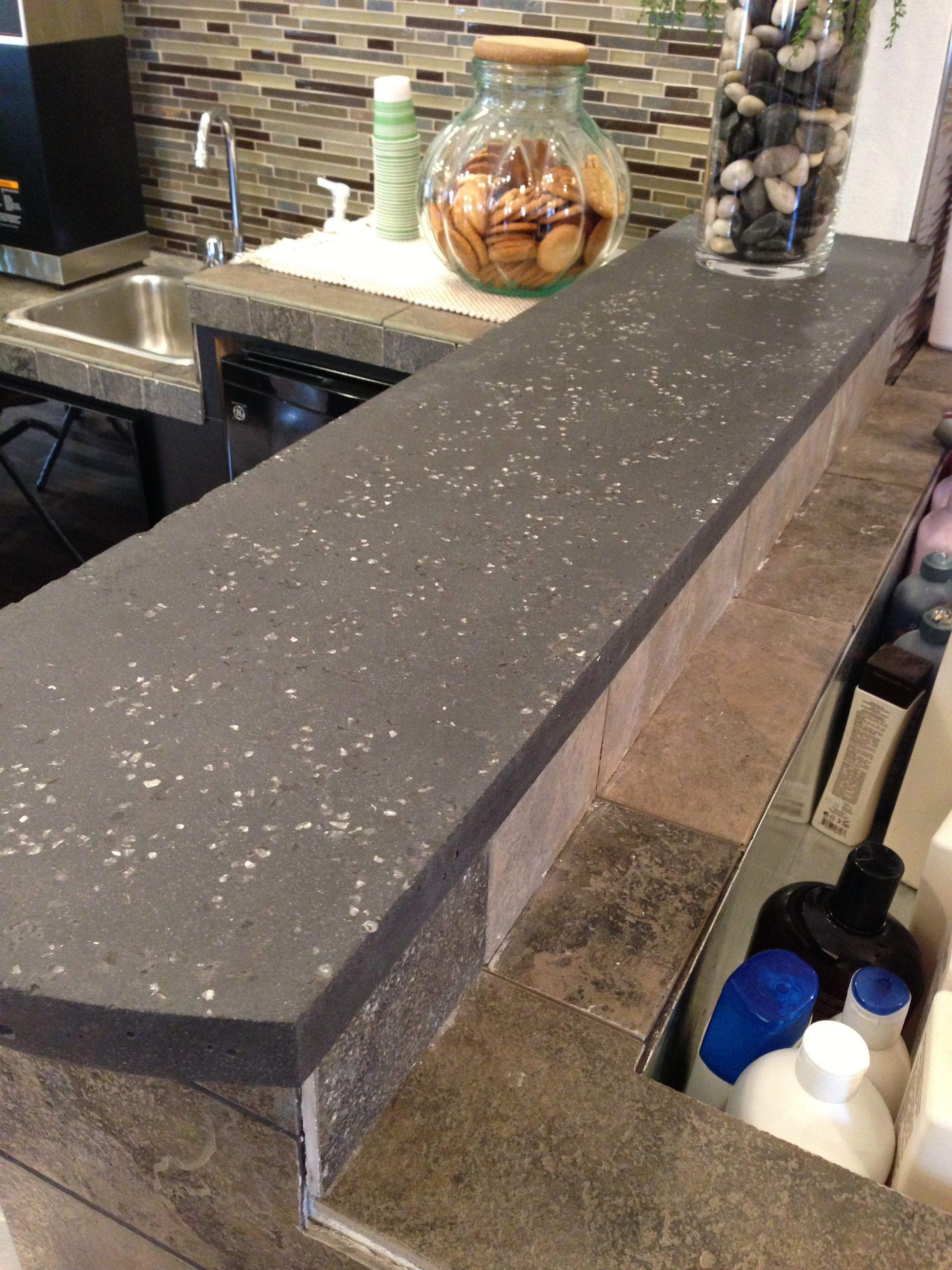 Charcoal Black Concrete Countertop With Mirrored Gl Made
