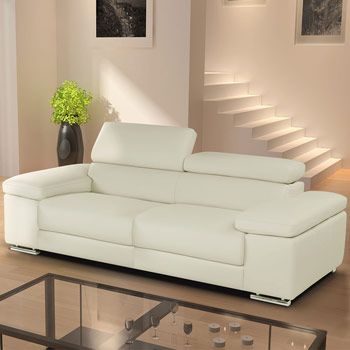 Nicoletti Lipari Cream Italian Leather 2 Seater Sofa