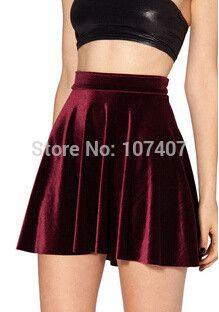 f73e5b252 X-352 New style Women VELVET SKIRT deep blue wine red black saias SKATER  SKIRT Pleated skirt High Waist Sexy Plus Size