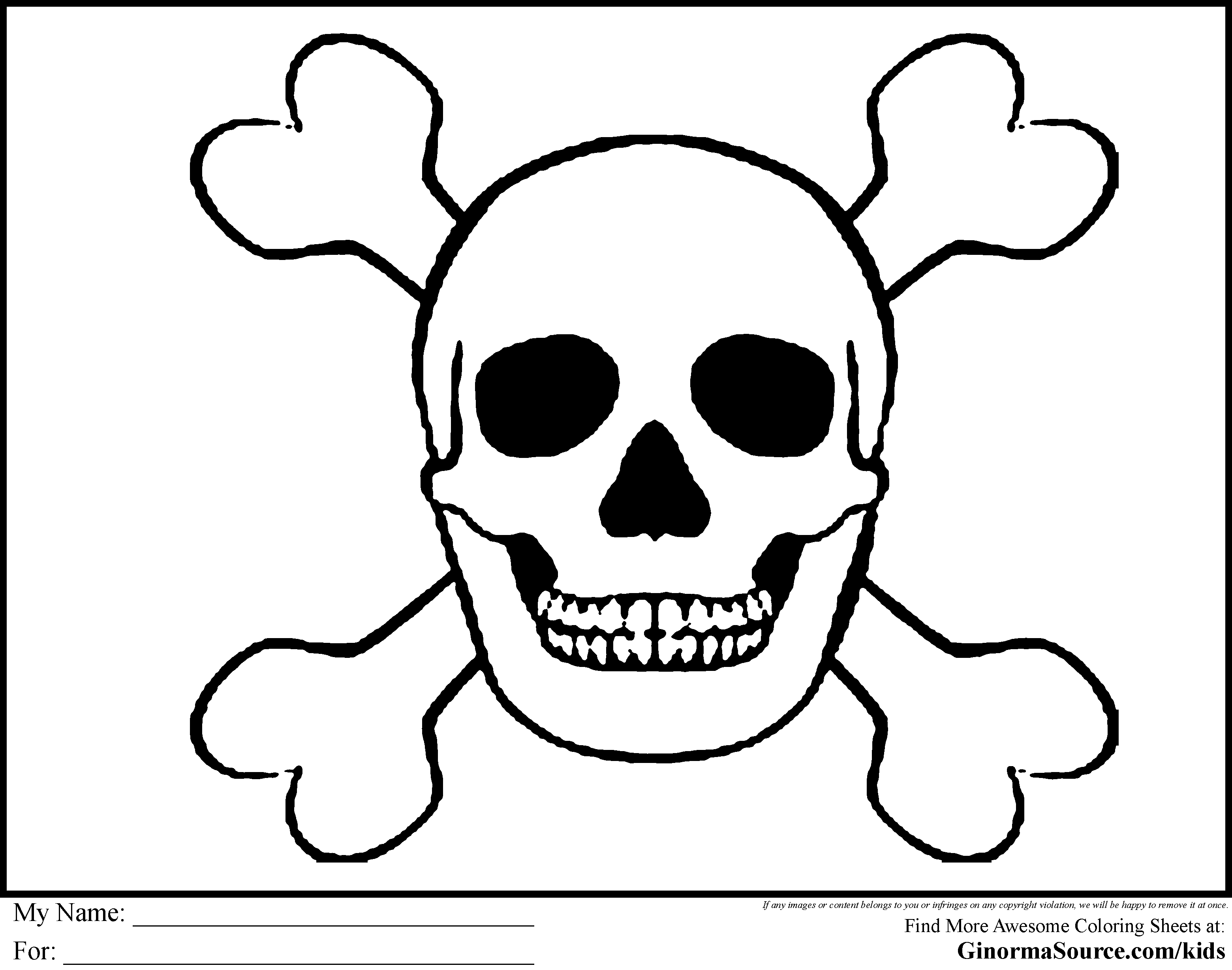 bones of the skull coloring pages | Pirate Coloring Pages Skull and bones | pirates | Pinterest