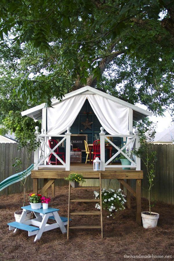 Cómo construir una casita de jardín para los niños DIY Pinterest