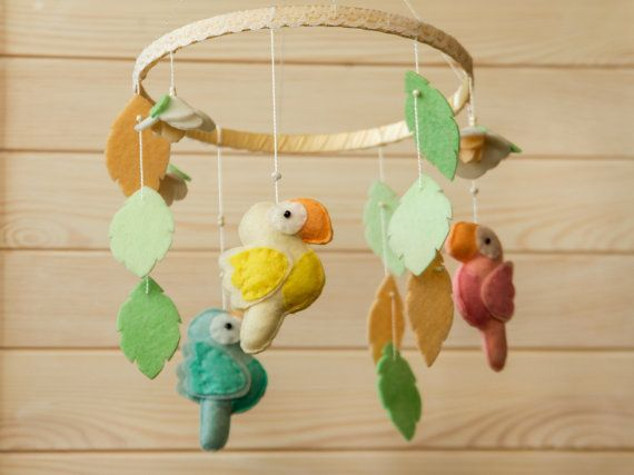 Parrot Baby Mobile Jungle Crib Mobile Baby by HomeHarmonyCreators