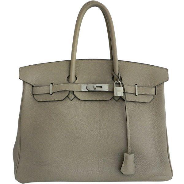 44e0104b748 Hermes Birkin Bag 35 Etoupe Clemence Brushed Palladium ❤ liked on Polyvore