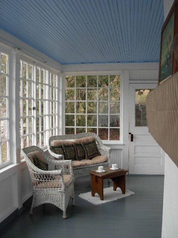 Sun Porch Ideas Love The Blue Ceiling And Loving The Door