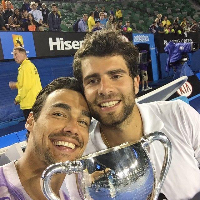 Tennis Players Fabio Fognini And Simone Bolelli We Are The Champions Australian Open 2015 We Are The Champions Tennis Tennis Players
