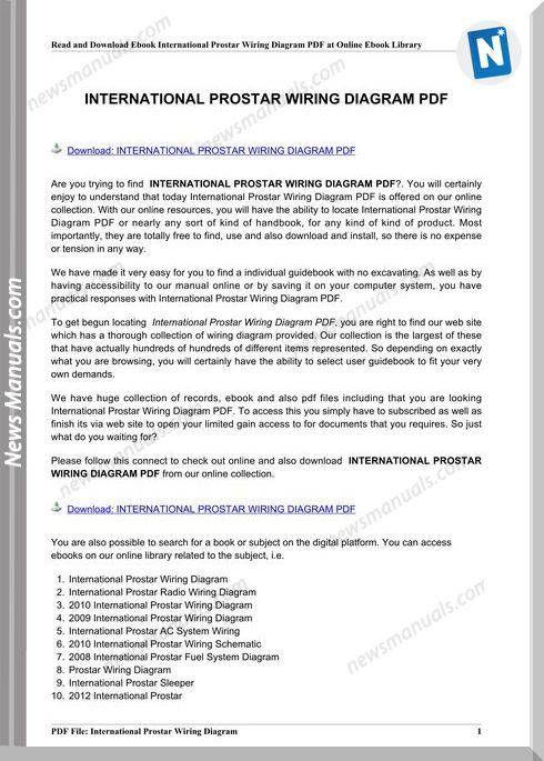 25 International Prostar Wiring Diagram