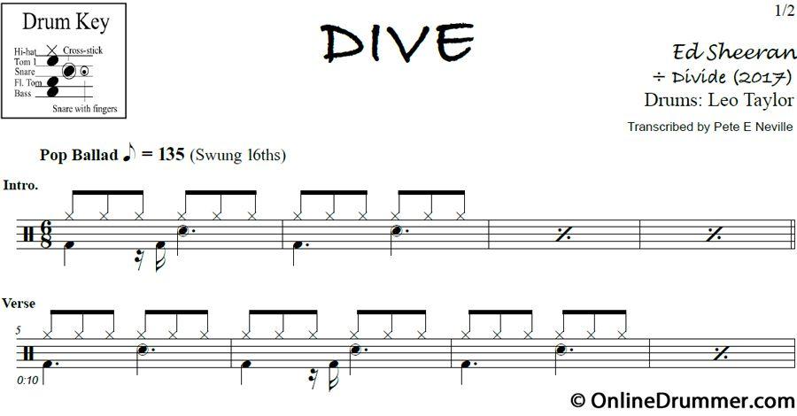 Dive - Ed Sheeran - Drum Sheet Music