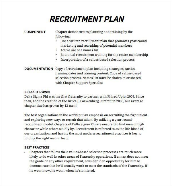 sample recruitment plan template recruiting checklist template selo