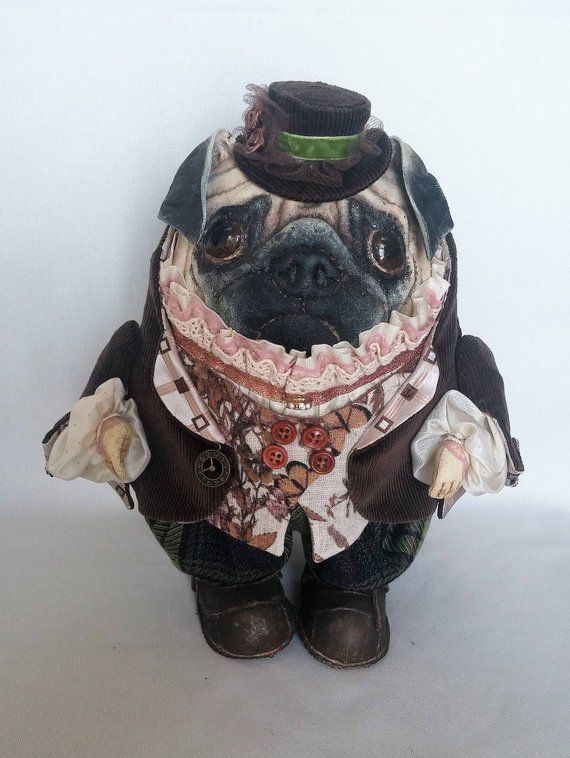 Pug Dog Textile Doll Vintage Textiles Stuffed Animal Patterns
