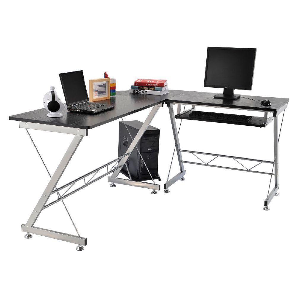 Lshaped corner home office computer desk workstation wkeyboard