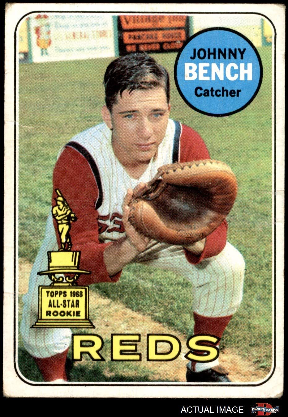 1969 topps 95 johnny bench cincinnati reds baseball card